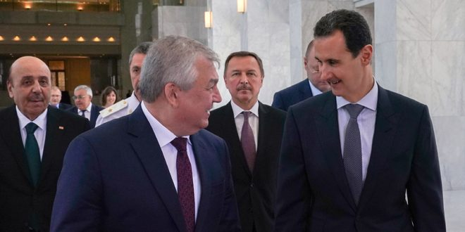 Syrian President, Lavrentiev discuss Moscow and Damascus's efforts to activate political process in line with continuing war on terrorism