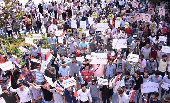 Aleppo citizens protest against US-Turkish aggression on Syrian territories