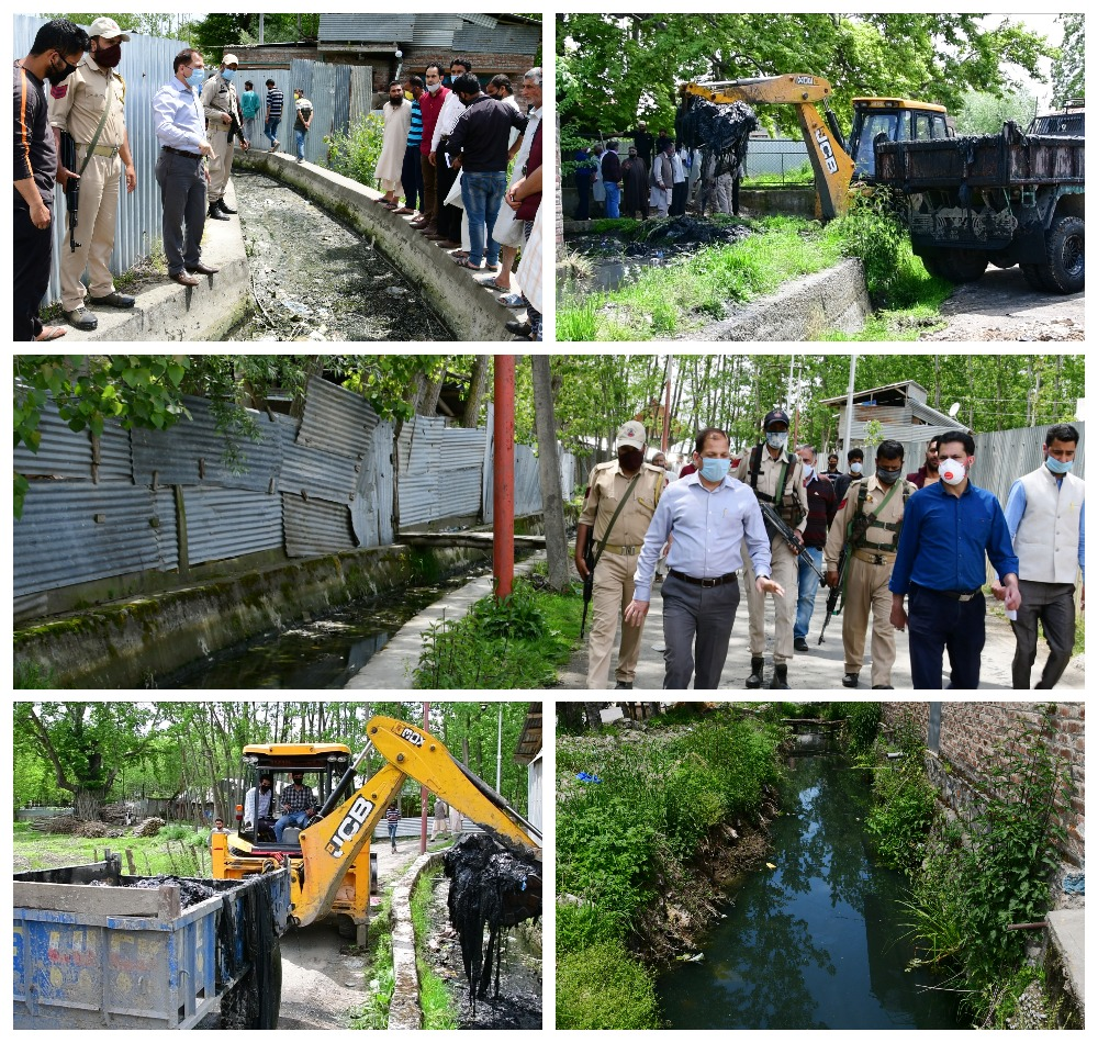 DC Ganderbal inspects progress of desilting on padshahi Kanal